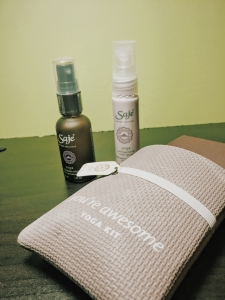 Sage Yoga Transition Mist, Yoga Anti-bacterial Spray in their little recycled yoga mat package.